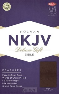 NKJV deluxe gift bible brown leather