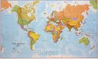 WORLD POLITICAL FLAT LAMINATED ENG 1/20M