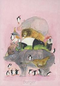 Ansichtkaarten Springende pinguïns en lachende hyena's (12 ex.)