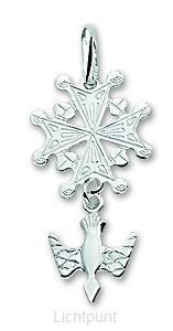 Silver pendant huguenot cross