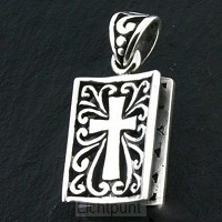 Silver pendant book cross