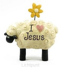 Sheep with flower I love Jesus