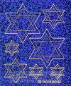 Stickervel davidster blauwglitter 2 vel