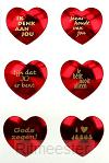 Stickervel glimmende harten 6 per vel