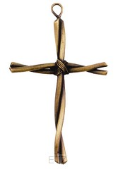 TWISTED WIRE WALL CROSS - BRONZE PLATED
