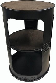 tafel rond metaal/hout ólievat'