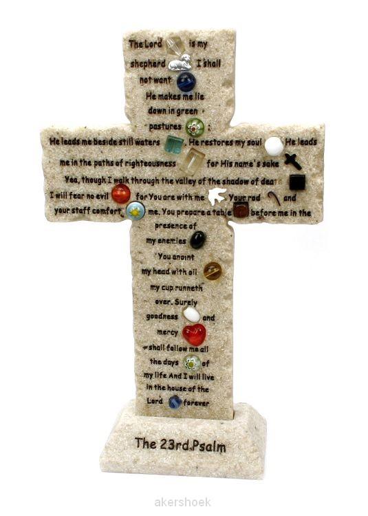 Kruis 23rd psalm 20cm steen