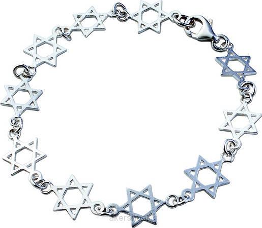 Armband zilver davidsterren 19cm