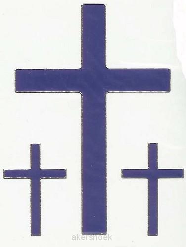 Stickervel kruis blauw 3 x 9 cm 6 x 3.5