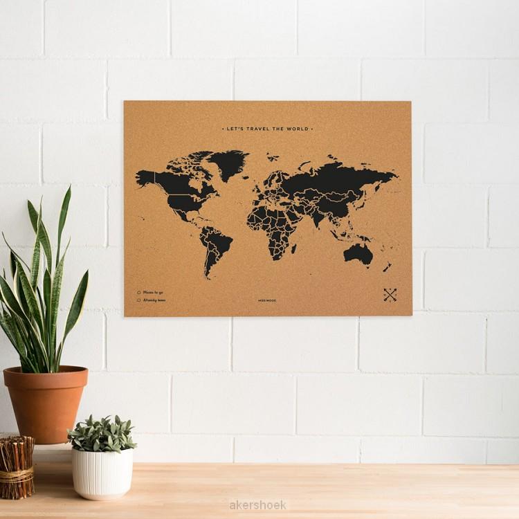 Wereldkaart kurk XL zwart 90 x 60cm