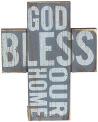 Wooden mini cross God bless