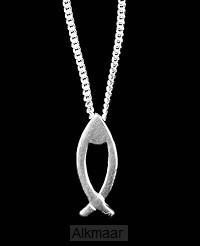 Hanger zilver vis m ketting 15mm