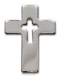 Reverpin open kruis zilverkleur