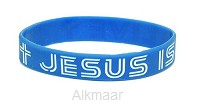 ARMBAND JESUS IS ALIVE BLAUW SILLICONE