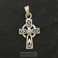 Silver pendant celtic cross crystal