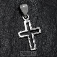 Silver pendant open cross small