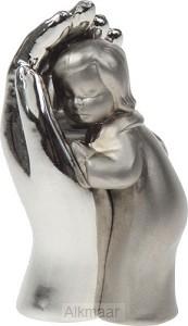 BEELD KIND IN HAND 4CM ZILVER MAT/GLANS