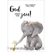 Cadeaubord olifantje God houdt van jou