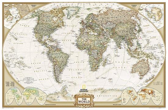 World pol. plano gepl. antiek groot1/22M