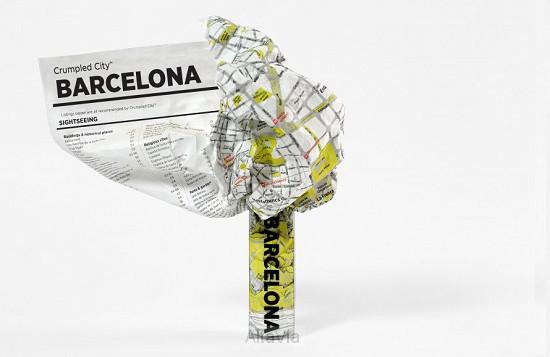 barcelona crumpled city map