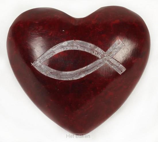 Ichtusvis rood hart steen