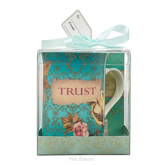 Trust - Aqua - Mug with coaster