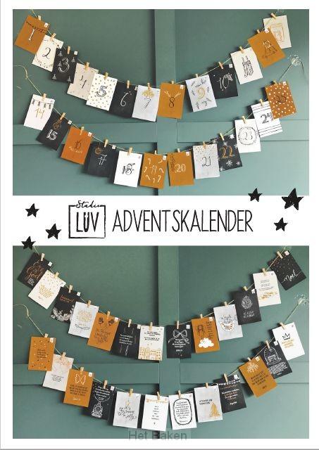 Adventskalender goud/zwart-wit