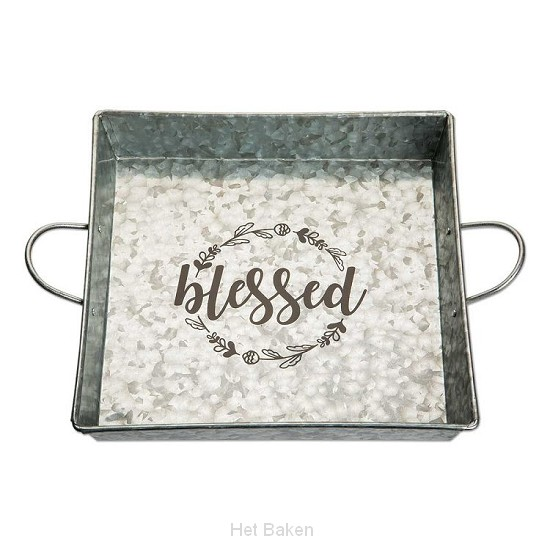 Tin serving tray blessed 30x30cm
