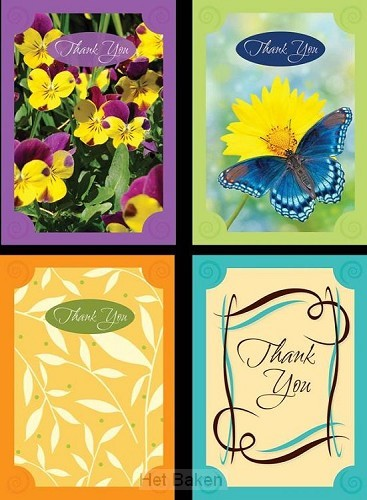Thank you card with grattitude set4