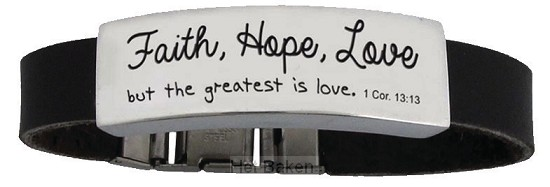 Faith Hope Love - Leather bracelet