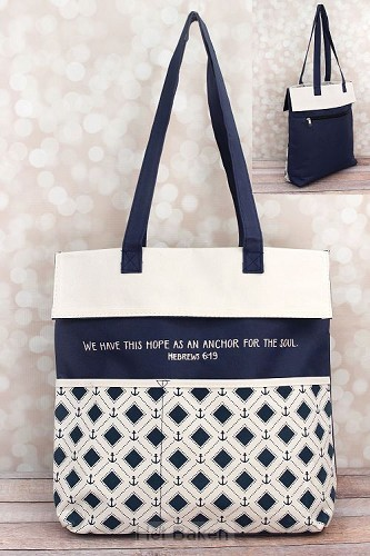 Inspirational tote bag hope is an anchor