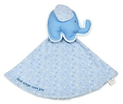 Tutdoek blauw olifant God zorgt