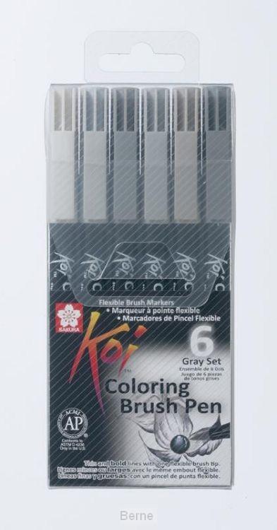 Sakura Koi Coloring Brush Pen 6 grijstinten