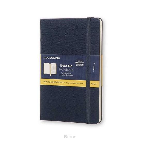 Moleskine Two-Go Notebook Medium Gelinieerd-Blanco Oriental Blauw