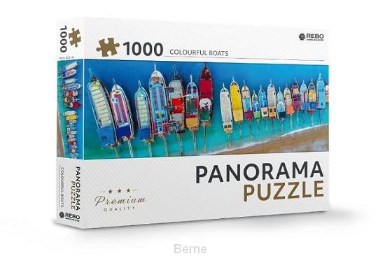 Rebo legpuzzel panorama 1000 stukjes - Colourful boats