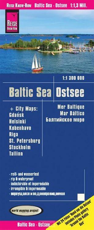 Reise Know-How Landkarte Ostsee  1:1 300 000 mit Stadtplänen Danzig, Helsinki, Kopenhagen, Riga, St. Petersburg, Stockholm, Tallinn