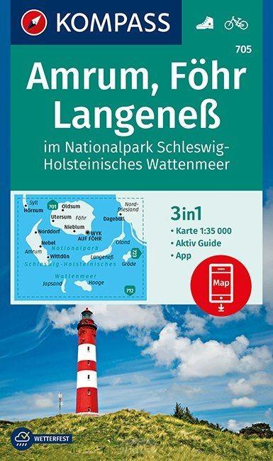 Amrum, Föhr, Langeneß im Nationalpark Schleswig-Holsteinisches Wattenmeer 1:35 000