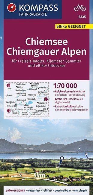 KOMPASS Fahrradkarte Chiemsee, Chiemgauer Alpen 1:70.000, FK 3335