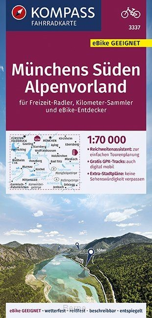 KOMPASS Fahrradkarte Münchens Süden, Alpenvorland 1:70.000, FK 3337
