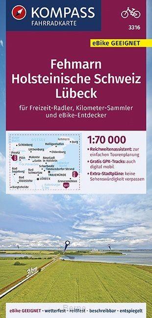 KOMPASS Fahrradkarte Fehmarn, Holsteinische Schweiz, Lübeck 1:70.000, FK 3316
