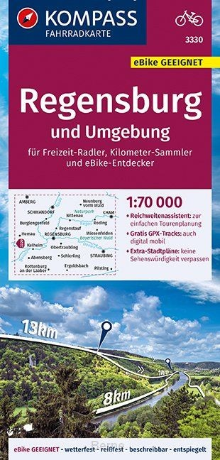 KOMPASS Fahrradkarte Regensburg und Umgebung 1:70.000, FK 3330