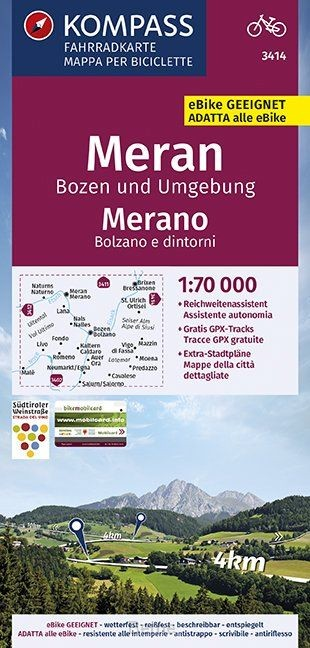 KOMPASS Fahrradkarte Meran, Bozen und Umgebung, Merano, Bolzano e dintorni 1:70.000, FK 3414