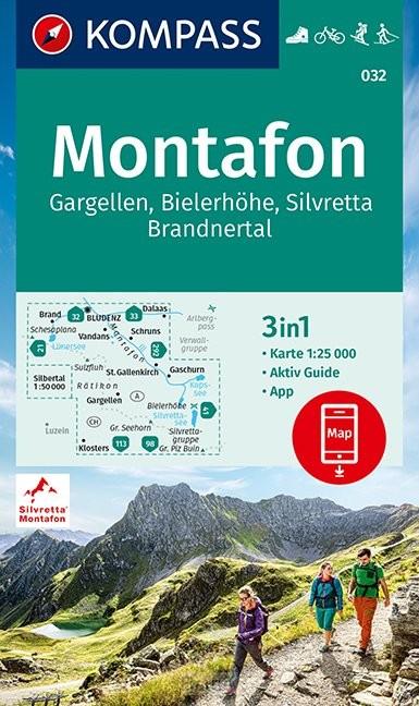 KOMPASS Wanderkarte Montafon, Gargellen, Bielerhöhe, Silvretta 1:25 000
