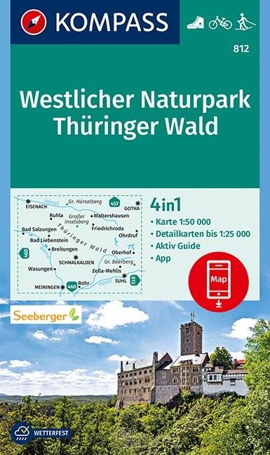 KOMPASS Wanderkarte Westlicher Naturpark Thüringer Wald 1:50 000