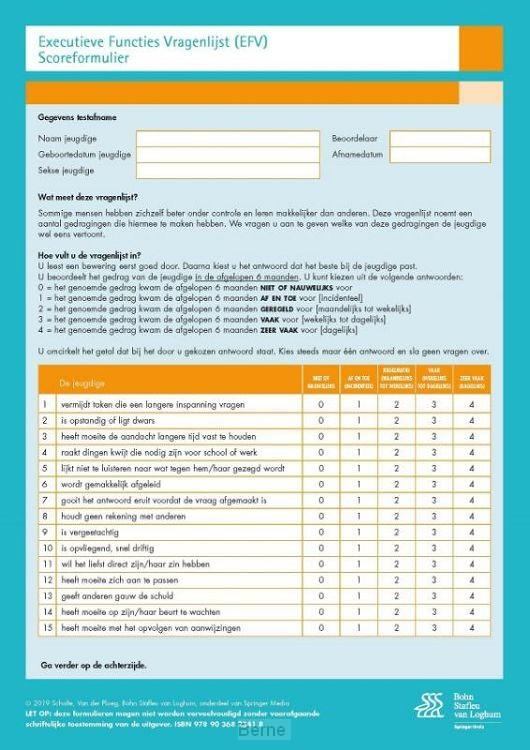 Executieve Functies Vragenlijst (EFV) scoreformulieren