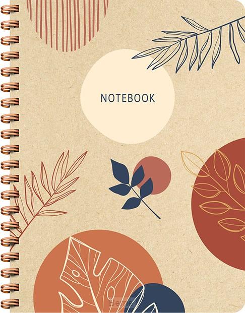 Botanical Kraft spiraalboek groot (lijnen)
