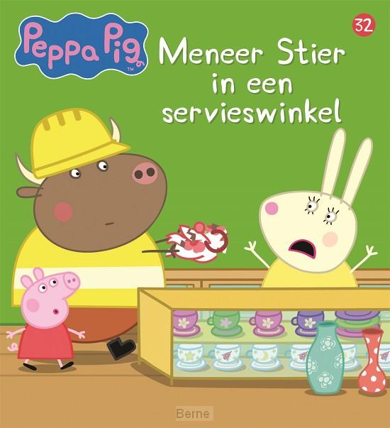 Meneer Stier in een servieswinkel