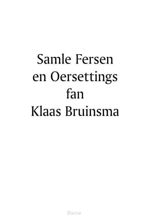 Samle fersen en Oersettings fan Klaas Bruinsma