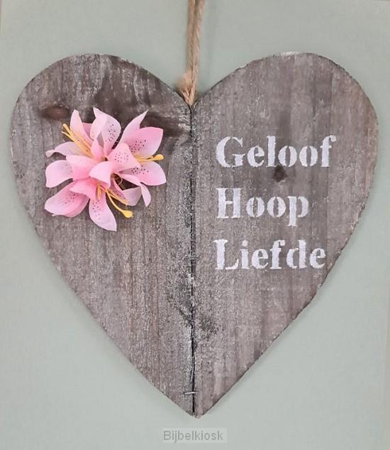 Wandbord hart geloof hoop liefde met blo