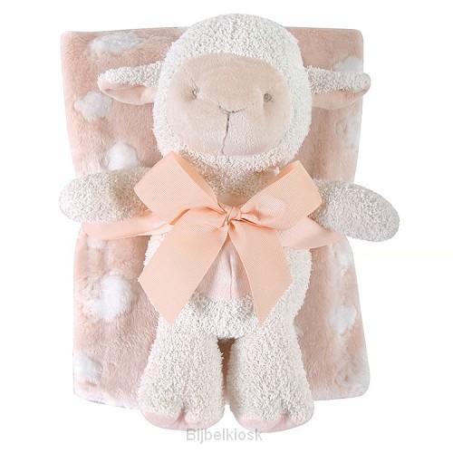Lamb Blanket Toy Set Pink
